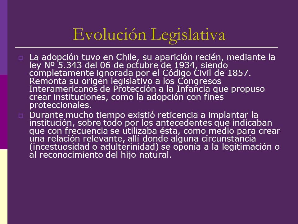Evolución Legislativa La adopción tuvo en Chile, su aparición recién, mediante la ley Nº 5.343 del 06 de octubre de 1934, siendo completamente ignorad