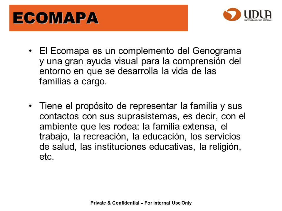 ECOMAPA El Ecomapa es un complemento del Genograma y una gran ayuda visual para la comprensión del entorno en que se desarrolla la vida de las familia