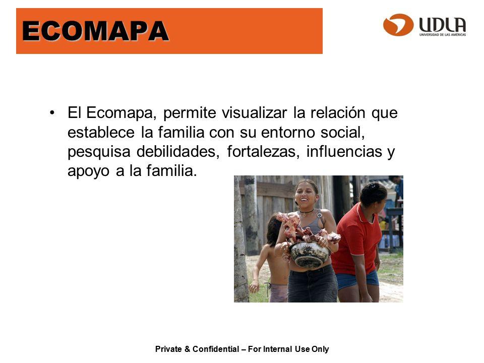 Private & Confidential – For Internal Use Only ECOMAPA El Ecomapa, permite visualizar la relación que establece la familia con su entorno social, pesq