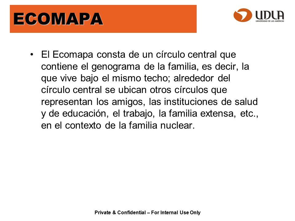 Private & Confidential – For Internal Use Only ECOMAPA El Ecomapa consta de un círculo central que contiene el genograma de la familia, es decir, la q