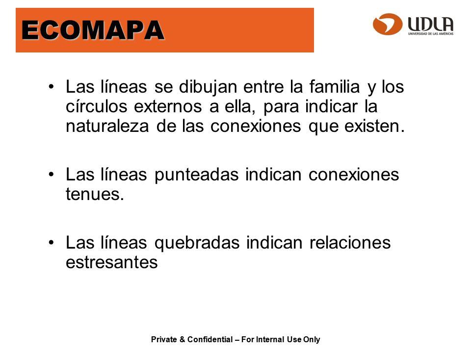 Private & Confidential – For Internal Use Only ECOMAPA Las líneas se dibujan entre la familia y los círculos externos a ella, para indicar la naturale