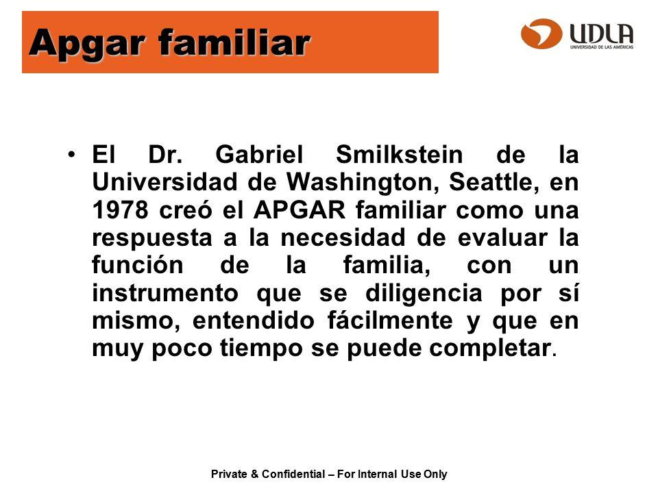 Apgar familiar El Dr. Gabriel Smilkstein de la Universidad de Washington, Seattle, en 1978 creó el APGAR familiar como una respuesta a la necesidad de