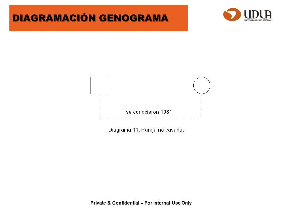 Private & Confidential – For Internal Use Only ECOMAPA Las líneas se dibujan entre la familia y los círculos externos a ella, para indicar la naturaleza de las conexiones que existen.