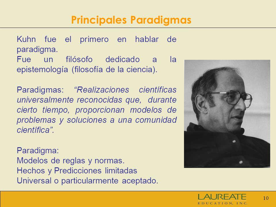10 Principales Paradigmas Kuhn fue el primero en hablar de paradigma. Fue un filósofo dedicado a la epistemología (filosofía de la ciencia). Paradigma