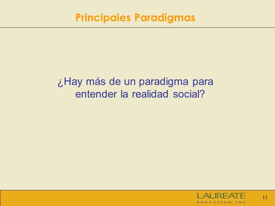 11 ¿Hay más de un paradigma para entender la realidad social? Principales Paradigmas