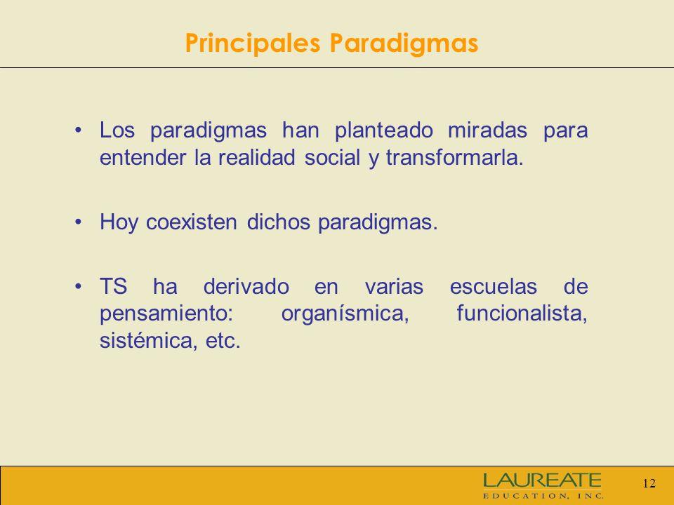 12 Los paradigmas han planteado miradas para entender la realidad social y transformarla. Hoy coexisten dichos paradigmas. TS ha derivado en varias es
