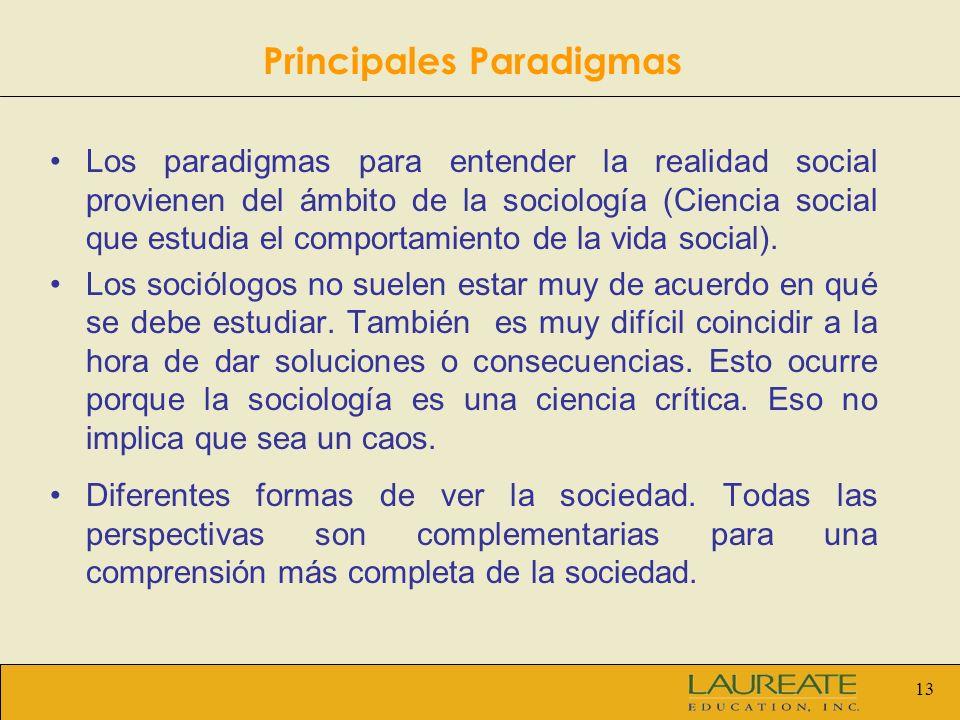 13 Los paradigmas para entender la realidad social provienen del ámbito de la sociología (Ciencia social que estudia el comportamiento de la vida soci