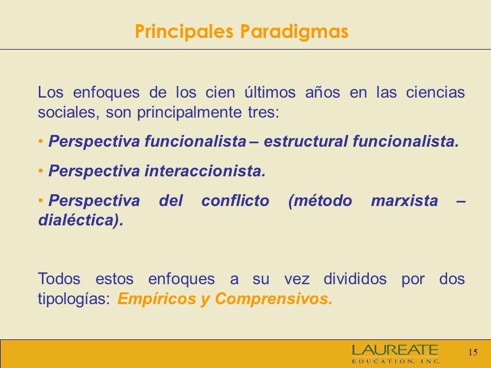 15 Los enfoques de los cien últimos años en las ciencias sociales, son principalmente tres: Perspectiva funcionalista – estructural funcionalista. Per