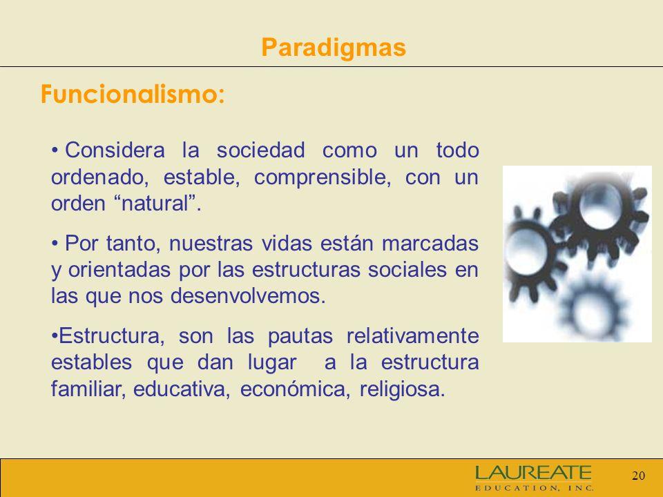 20 Paradigmas Funcionalismo: Considera la sociedad como un todo ordenado, estable, comprensible, con un orden natural. Por tanto, nuestras vidas están
