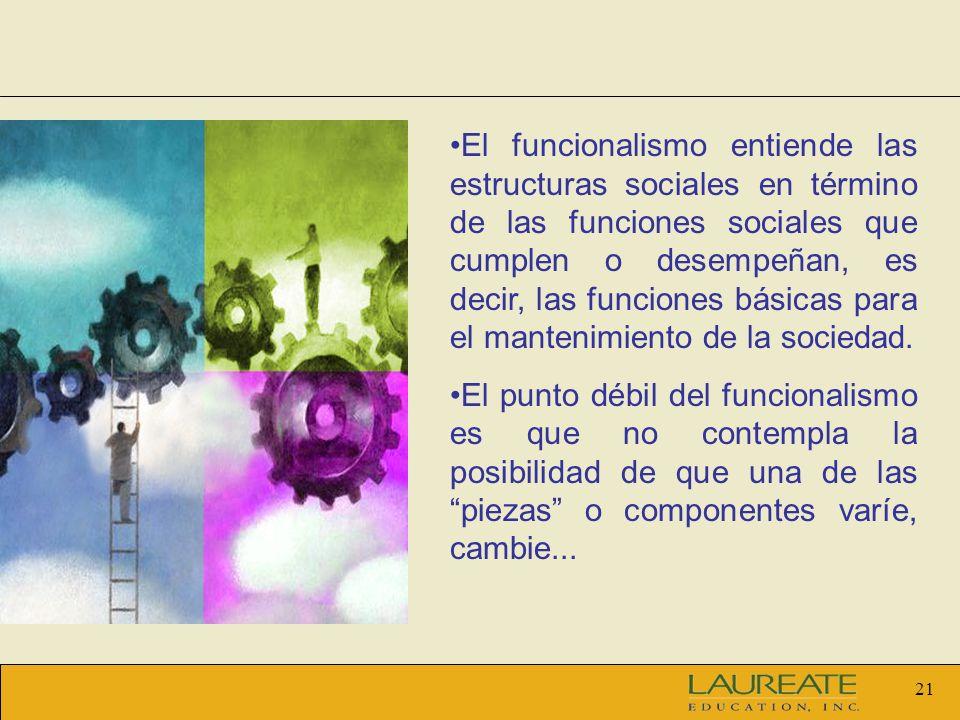 21 El funcionalismo entiende las estructuras sociales en término de las funciones sociales que cumplen o desempeñan, es decir, las funciones básicas p