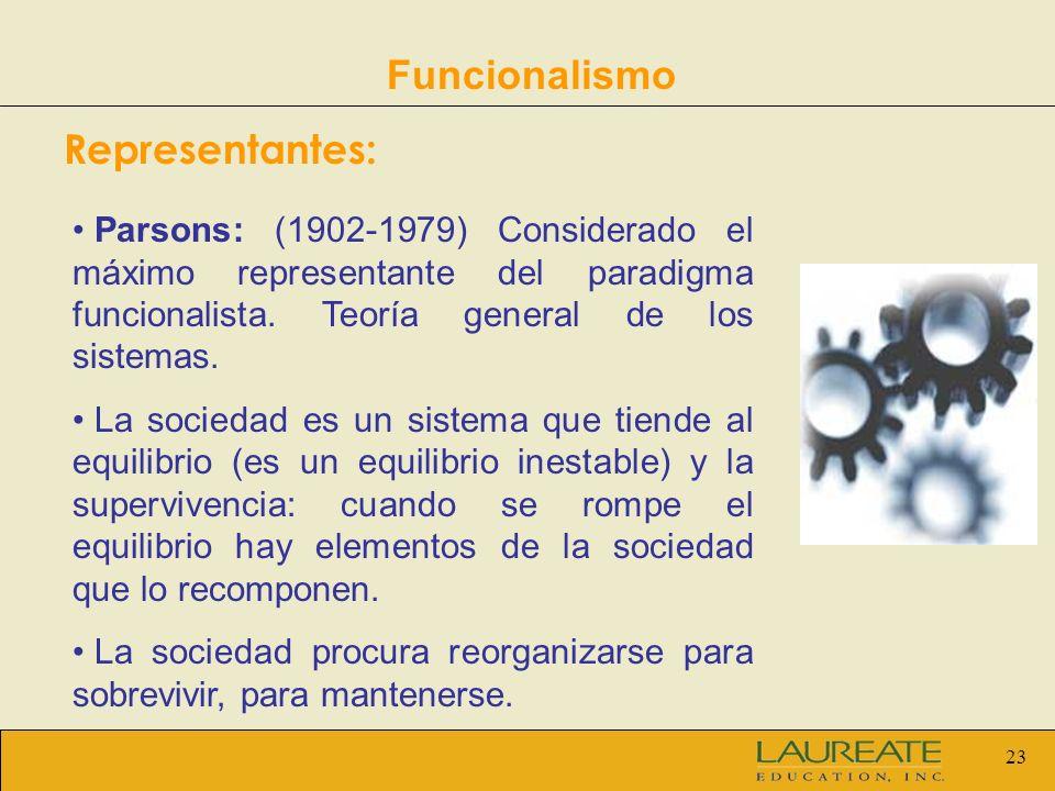 23 Funcionalismo Representantes: Parsons: (1902-1979) Considerado el máximo representante del paradigma funcionalista. Teoría general de los sistemas.