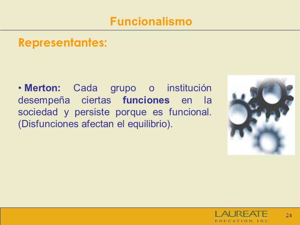24 Funcionalismo Representantes: Merton: Cada grupo o institución desempeña ciertas funciones en la sociedad y persiste porque es funcional. (Disfunci
