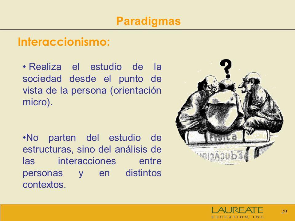 29 Paradigmas Interaccionismo: Realiza el estudio de la sociedad desde el punto de vista de la persona (orientación micro). No parten del estudio de e