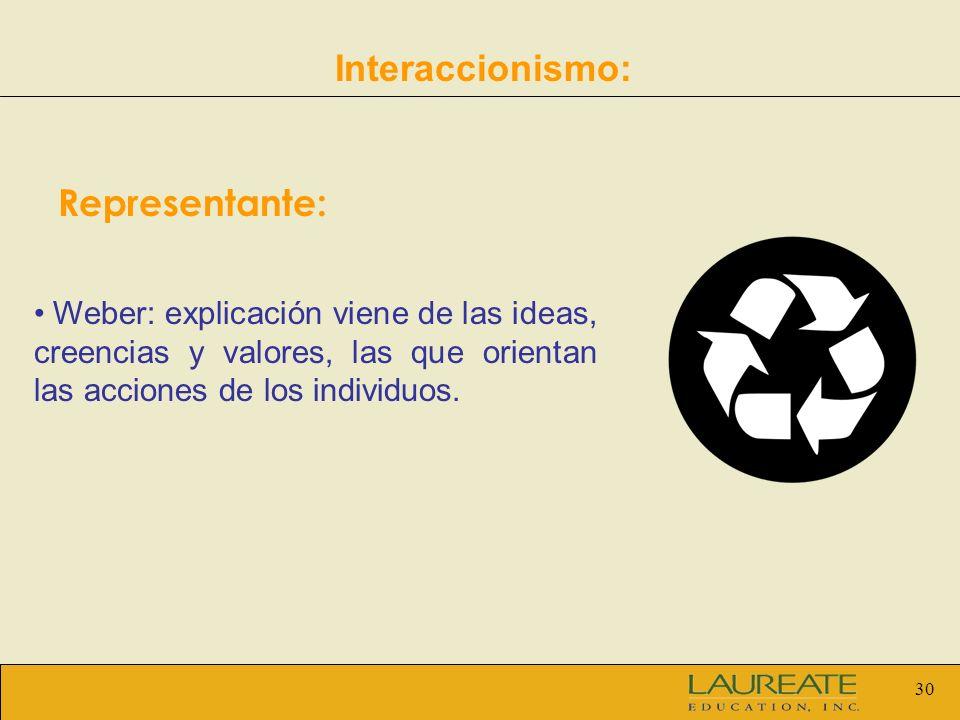 30 Interaccionismo: Representante: Weber: explicación viene de las ideas, creencias y valores, las que orientan las acciones de los individuos.
