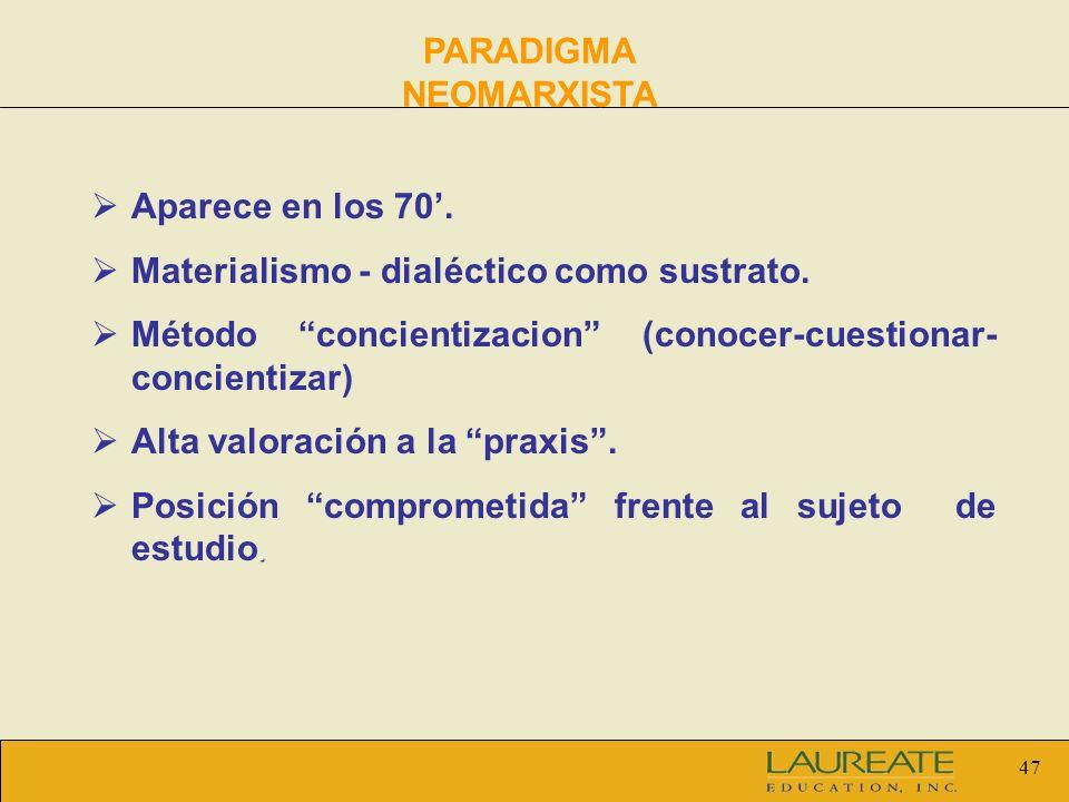 47 PARADIGMA NEOMARXISTA Aparece en los 70. Materialismo - dialéctico como sustrato. Método concientizacion (conocer-cuestionar- concientizar) Alta va