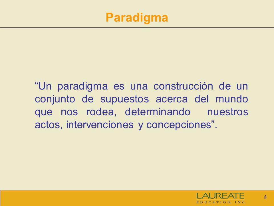 8 Paradigma Un paradigma es una construcción de un conjunto de supuestos acerca del mundo que nos rodea, determinando nuestros actos, intervenciones y