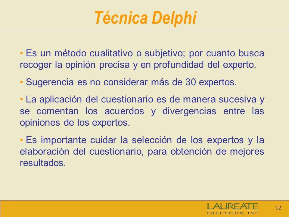 12 Es un método cualitativo o subjetivo; por cuanto busca recoger la opinión precisa y en profundidad del experto.