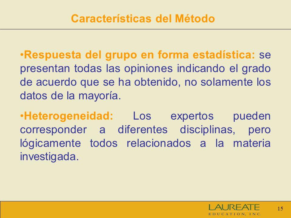 15 Respuesta del grupo en forma estadística: se presentan todas las opiniones indicando el grado de acuerdo que se ha obtenido, no solamente los datos de la mayoría.