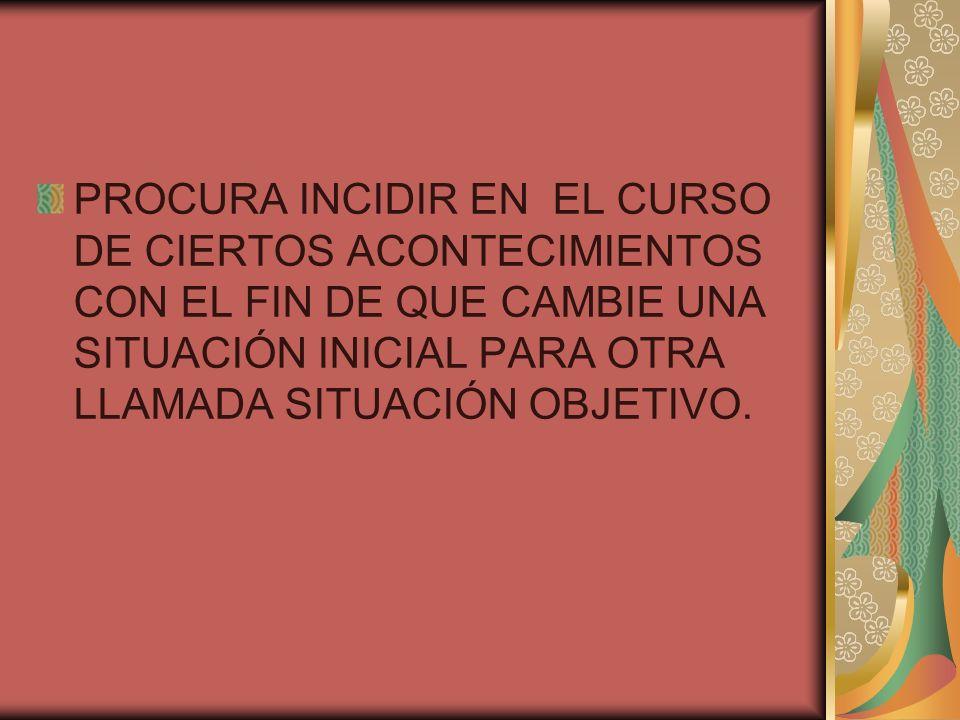 PROCURA INCIDIR EN EL CURSO DE CIERTOS ACONTECIMIENTOS CON EL FIN DE QUE CAMBIE UNA SITUACIÓN INICIAL PARA OTRA LLAMADA SITUACIÓN OBJETIVO.