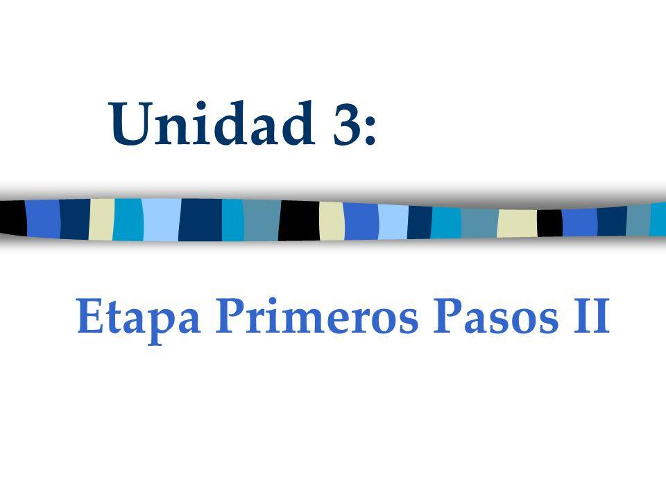Unidad 3: Etapa Primeros Pasos II
