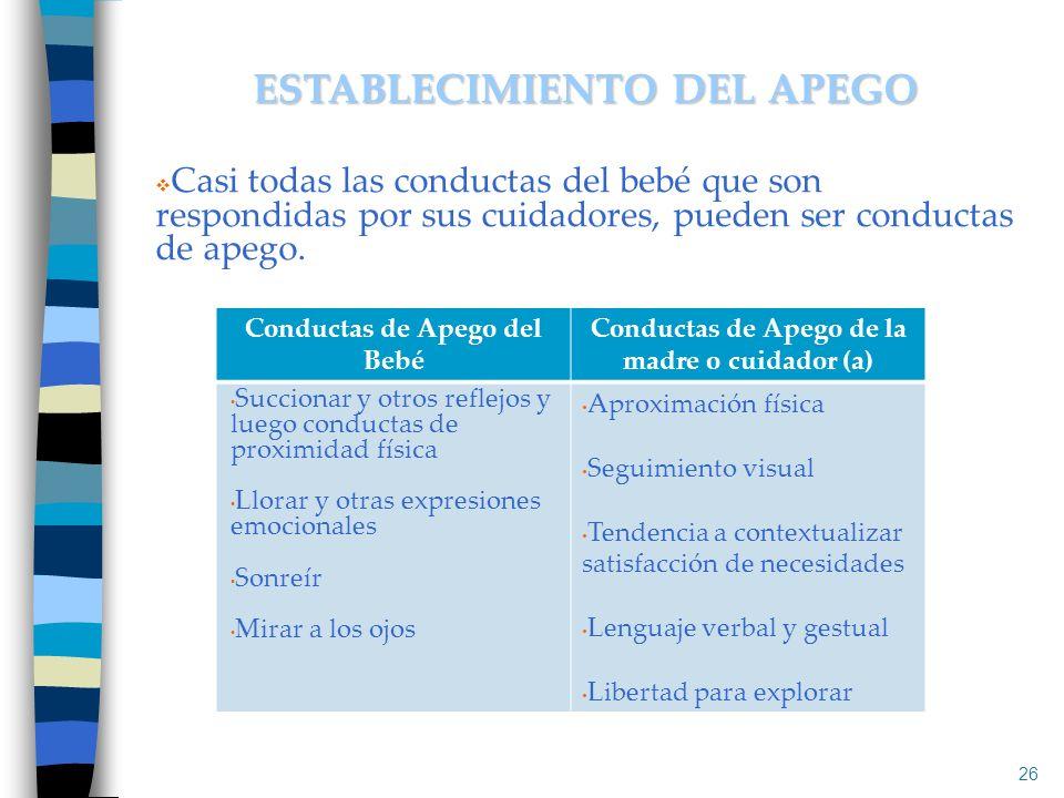 Casi todas las conductas del bebé que son respondidas por sus cuidadores, pueden ser conductas de apego. 26 ESTABLECIMIENTO DEL APEGO Conductas de Ape