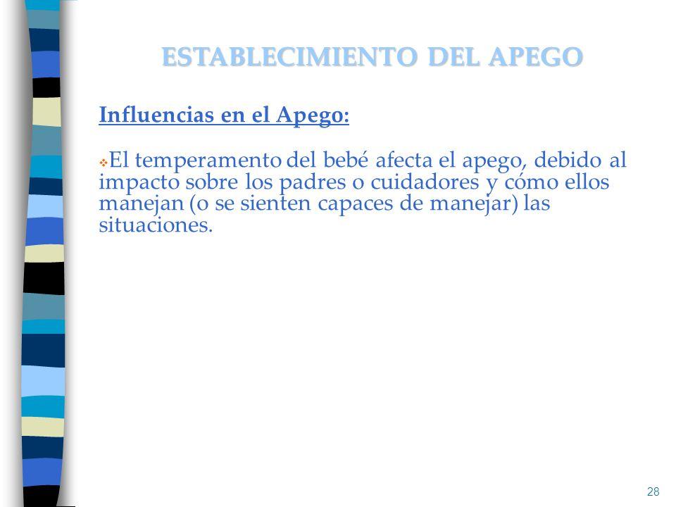Influencias en el Apego: El temperamento del bebé afecta el apego, debido al impacto sobre los padres o cuidadores y cómo ellos manejan (o se sienten