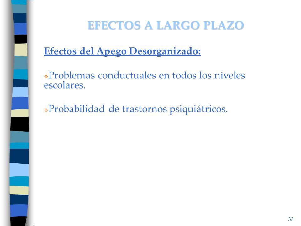 Efectos del Apego Desorganizado: Problemas conductuales en todos los niveles escolares. Probabilidad de trastornos psiquiátricos. 33 EFECTOS A LARGO P