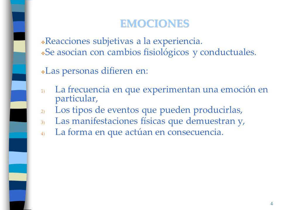 Reacciones subjetivas a la experiencia. Se asocian con cambios fisiológicos y conductuales. Las personas difieren en: 1) La frecuencia en que experime
