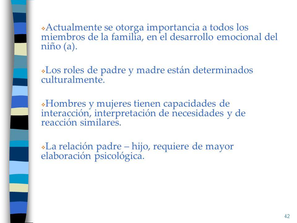 Actualmente se otorga importancia a todos los miembros de la familia, en el desarrollo emocional del niño (a). Los roles de padre y madre están determ