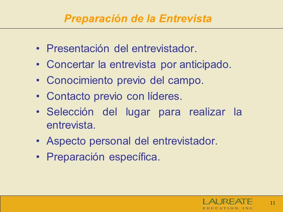 11 Preparación de la Entrevista Presentación del entrevistador. Concertar la entrevista por anticipado. Conocimiento previo del campo. Contacto previo