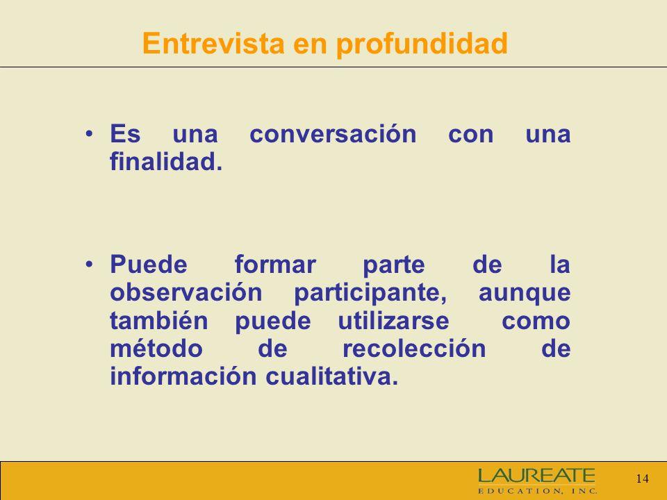 14 Entrevista en profundidad Es una conversación con una finalidad. Puede formar parte de la observación participante, aunque también puede utilizarse