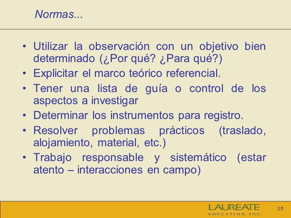 14 Normas para una observación sistemática y controlada El observador debe tener la capacidad de observar.