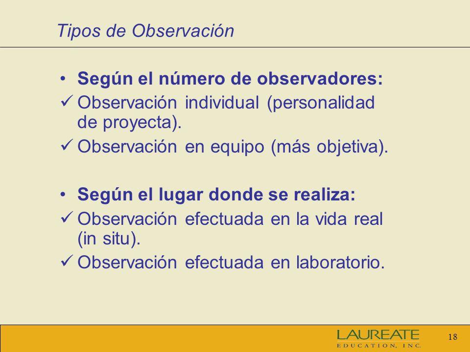 17 Tipos de Observación Según los medios utilizados: Observación no estructurada (simple). Observación estructurada (aspectos predefinidos). Según el