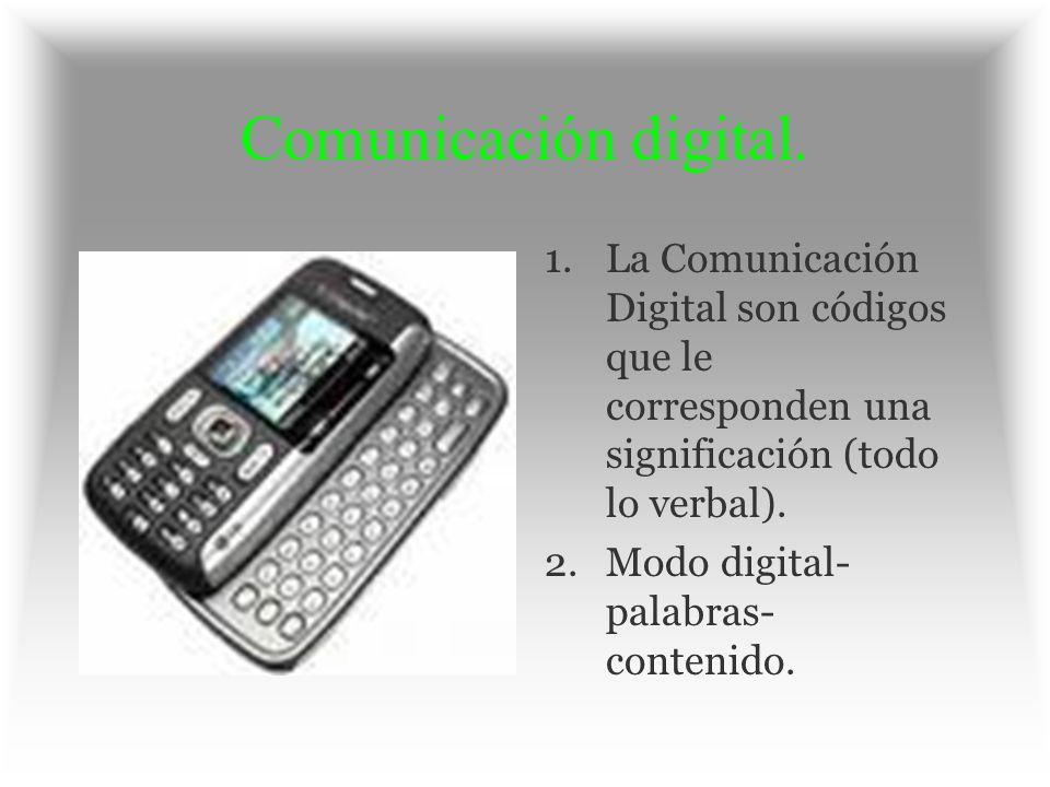 Comunicación digital. 1.La Comunicación Digital son códigos que le corresponden una significación (todo lo verbal). 2.Modo digital- palabras- contenid