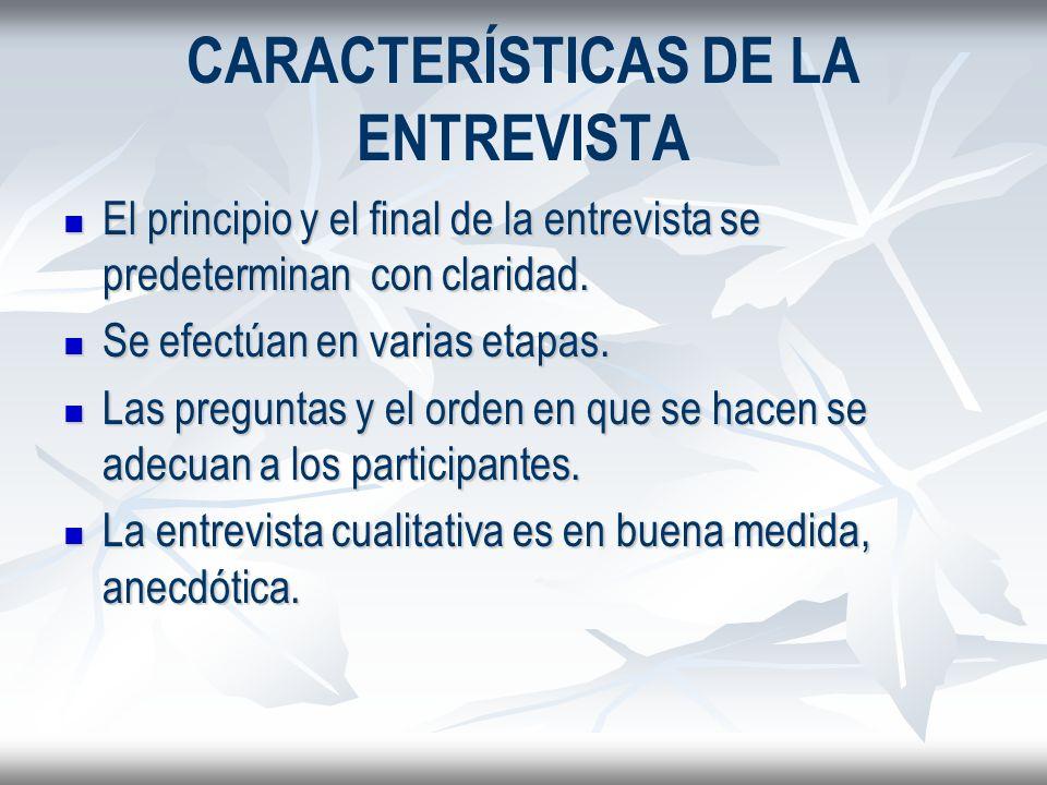 CARACTERÍSTICAS DE LA ENTREVISTA El principio y el final de la entrevista se predeterminan con claridad. El principio y el final de la entrevista se p