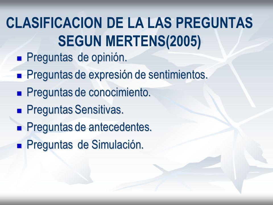 ) CLASIFICACION DE LA LAS PREGUNTAS SEGUN MERTENS(2005) Preguntas de opinión. Preguntas de opinión. Preguntas de expresión de sentimientos. Preguntas