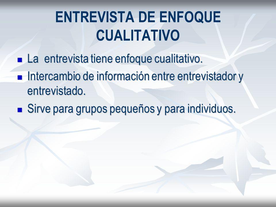 ENTREVISTA DE ENFOQUE CUALITATIVO La entrevista tiene enfoque cualitativo. La entrevista tiene enfoque cualitativo. Intercambio de información entre e