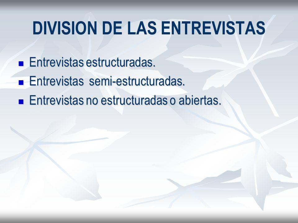 DIVISION DE LAS ENTREVISTAS Entrevistas estructuradas. Entrevistas estructuradas. Entrevistas semi-estructuradas. Entrevistas semi-estructuradas. Entr