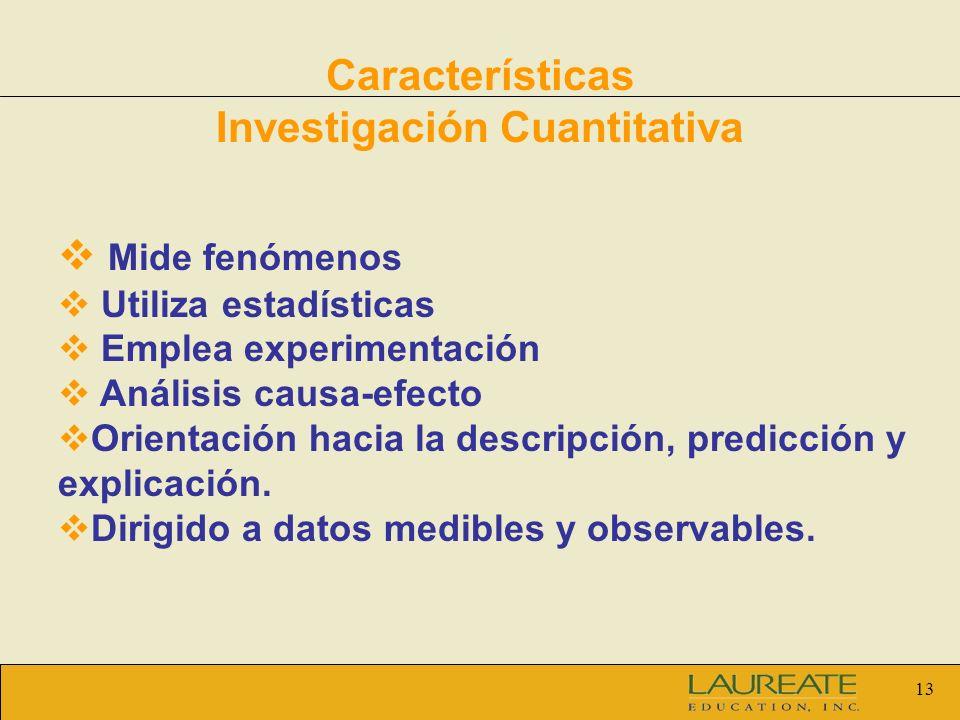 13 Características Investigación Cuantitativa Mide fenómenos Utiliza estadísticas Emplea experimentación Análisis causa-efecto Orientación hacia la de