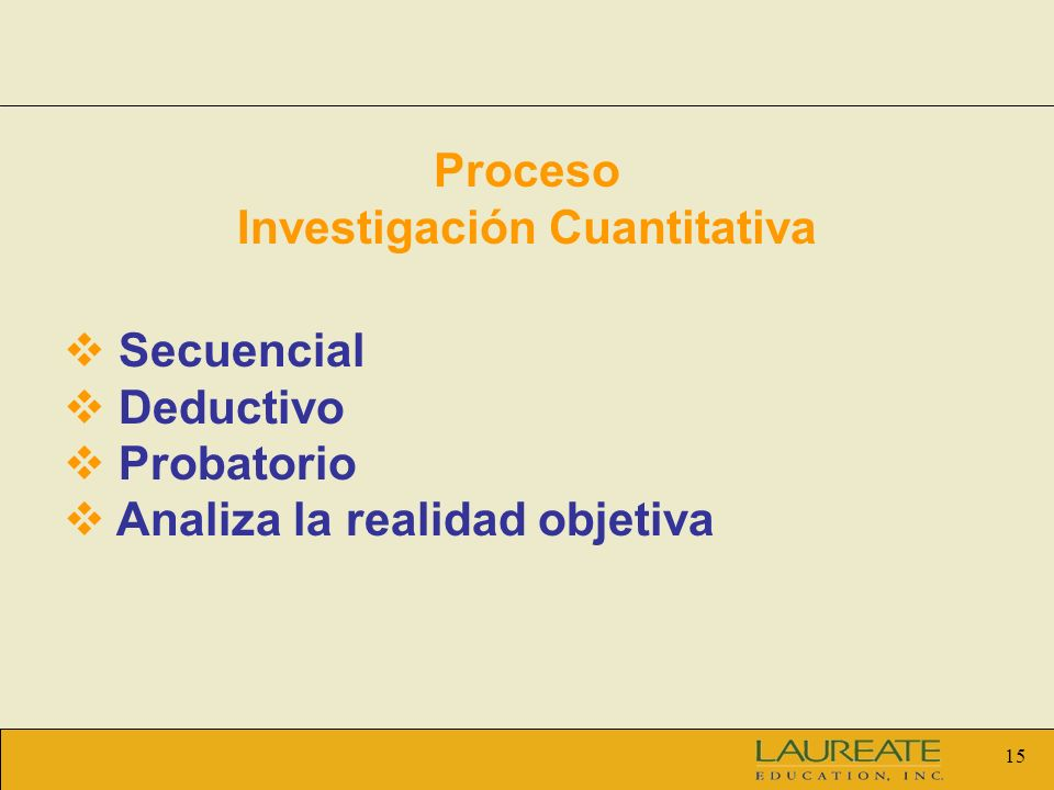 15 Proceso Investigación Cuantitativa Secuencial Deductivo Probatorio Analiza la realidad objetiva