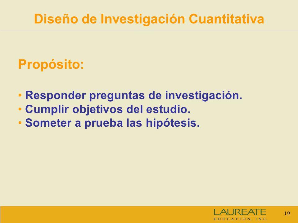 19 Diseño de Investigación Cuantitativa Propósito: Responder preguntas de investigación. Cumplir objetivos del estudio. Someter a prueba las hipótesis