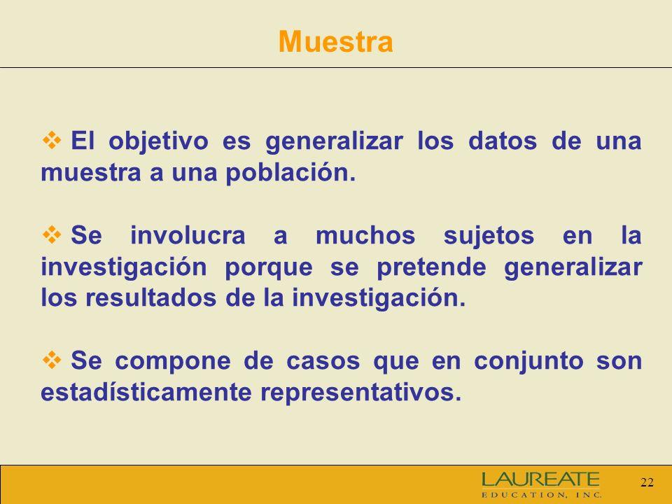 22 Muestra El objetivo es generalizar los datos de una muestra a una población. Se involucra a muchos sujetos en la investigación porque se pretende g