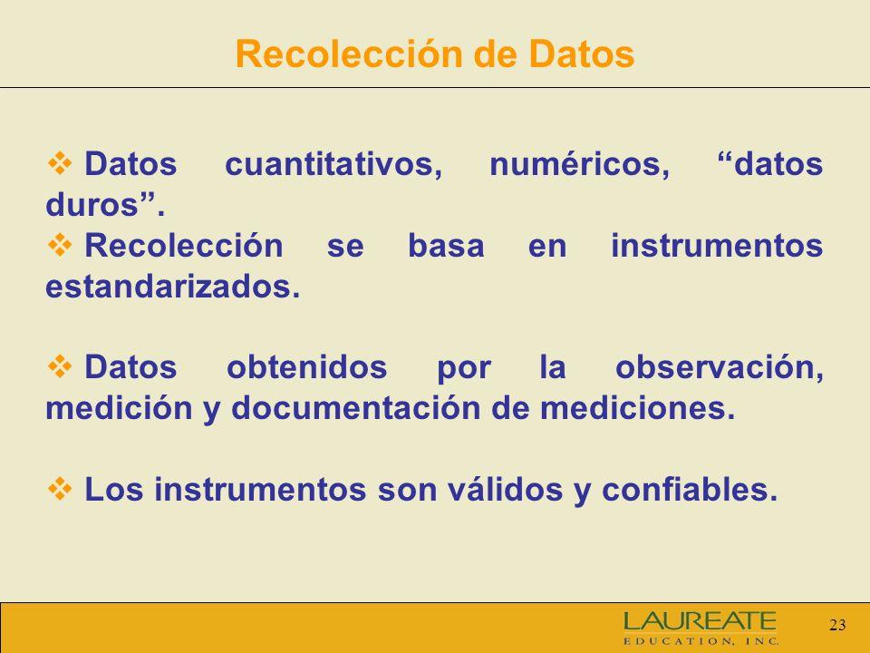23 Recolección de Datos Datos cuantitativos, numéricos, datos duros. Recolección se basa en instrumentos estandarizados. Datos obtenidos por la observ