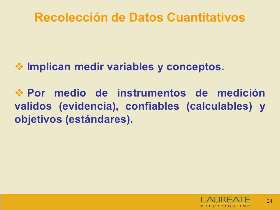 24 Recolección de Datos Cuantitativos Implican medir variables y conceptos. Por medio de instrumentos de medición validos (evidencia), confiables (cal