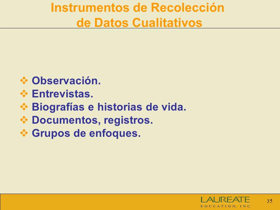 35 Instrumentos de Recolección de Datos Cualitativos Observación. Entrevistas. Biografías e historias de vida. Documentos, registros. Grupos de enfoqu