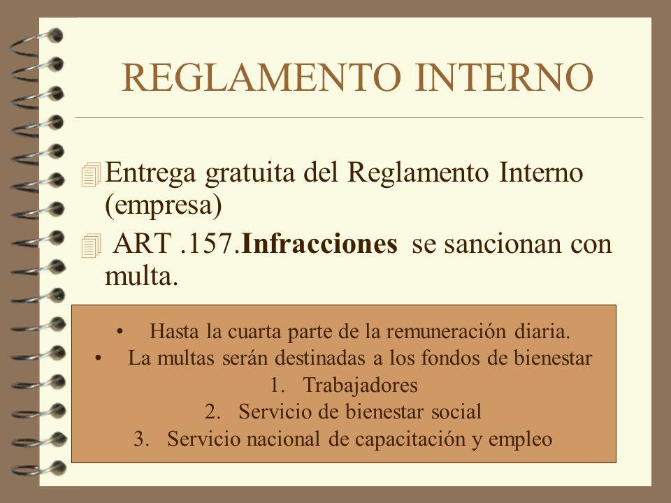 REGLAMENTO INTERNO 4 Entrega gratuita del Reglamento Interno (empresa) 4 ART.157.Infracciones se sancionan con multa. Hasta la cuarta parte de la remu