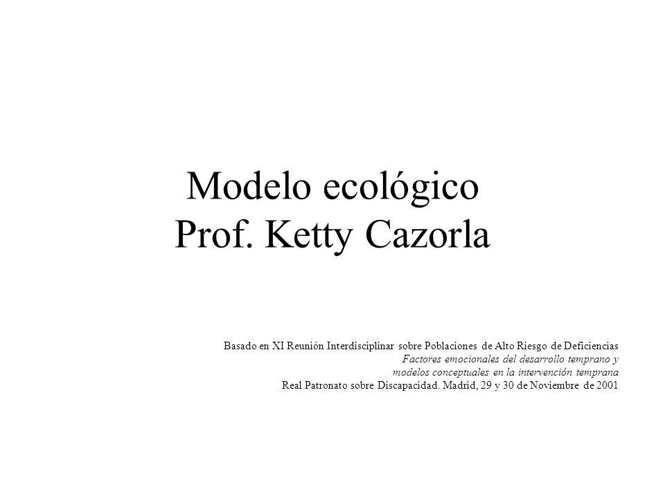 Modelo ecológico Prof. Ketty Cazorla Basado en XI Reunión Interdisciplinar sobre Poblaciones de Alto Riesgo de Deficiencias Factores emocionales del d