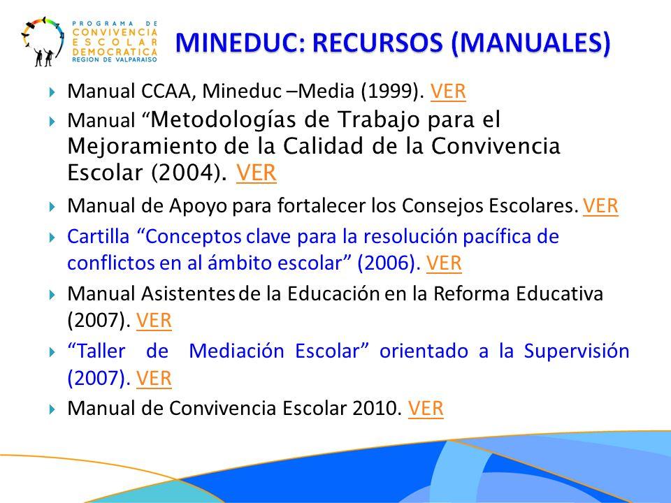 Manual CCAA, Mineduc –Media (1999). VERVER Manual Metodologías de Trabajo para el Mejoramiento de la Calidad de la Convivencia Escolar (2004). VERVER