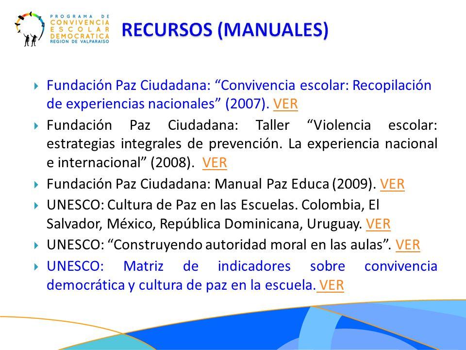 Fundación Paz Ciudadana: Convivencia escolar: Recopilación de experiencias nacionales (2007). VERVER Fundación Paz Ciudadana: Taller Violencia escolar