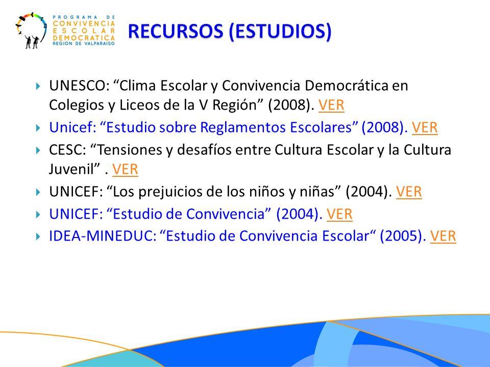 UNESCO: Clima Escolar y Convivencia Democrática en Colegios y Liceos de la V Región (2008). VERVER Unicef: Estudio sobre Reglamentos Escolares (2008).